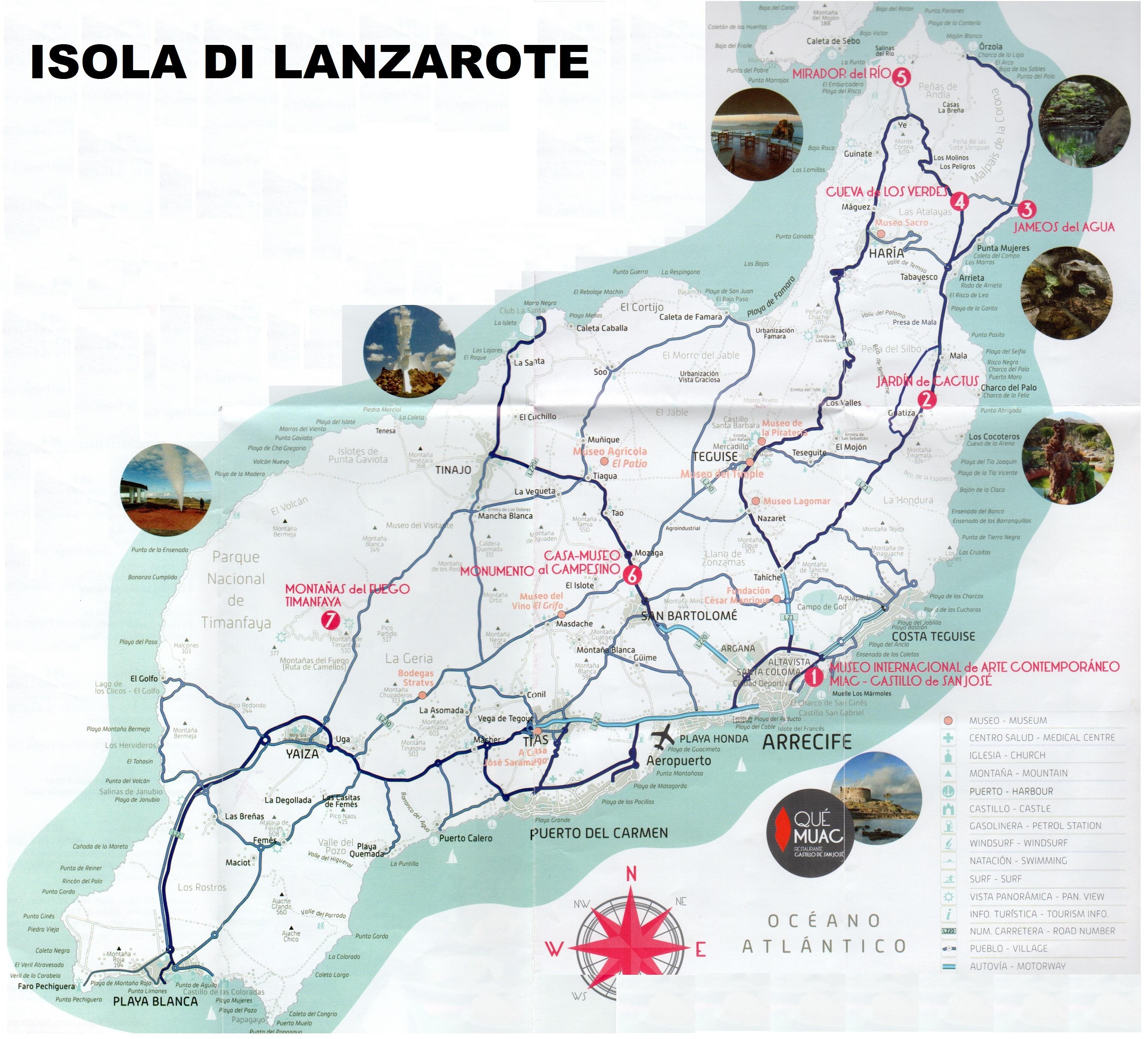 Cartina Lanzarote.Canarie Islands Fuerteventura And Lanzarote
